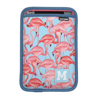 Bright Pink Flamingos On Blue | Add Your Initial iPad Mini Sleeve