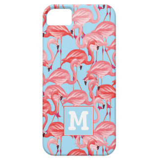 Bright Pink Flamingos On Blue   Add Your Initial iPhone 5 Covers