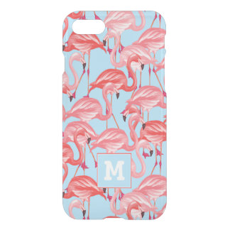 Bright Pink Flamingos On Blue | Add Your Initial iPhone 8/7 Case