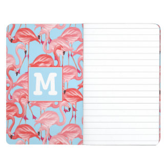 Bright Pink Flamingos On Blue | Add Your Initial Journal