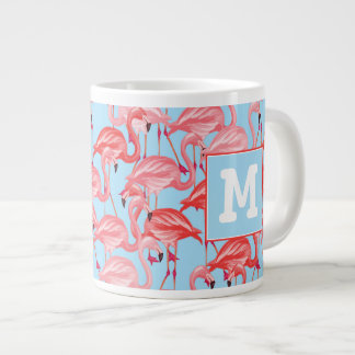 Bright Pink Flamingos On Blue | Add Your Initial Large Coffee Mug