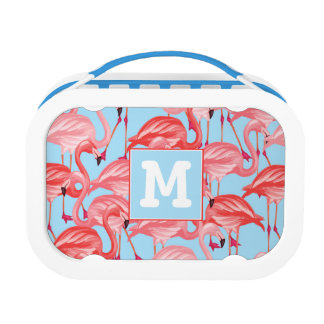 Bright Pink Flamingos On Blue   Add Your Initial Lunch Box