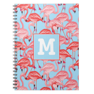 Bright Pink Flamingos On Blue | Add Your Initial Notebooks