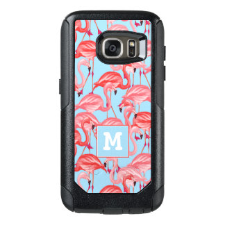 Bright Pink Flamingos On Blue | Add Your Initial OtterBox Samsung Galaxy S7 Case