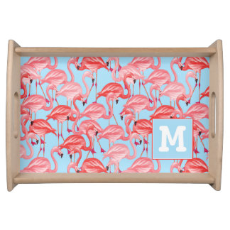 Bright Pink Flamingos On Blue | Add Your Initial Serving Tray