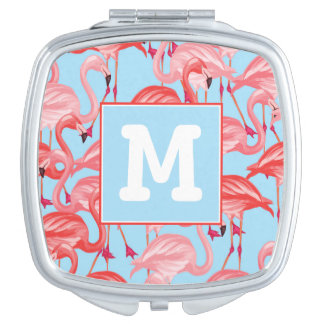 Bright Pink Flamingos On Blue   Add Your Initial Vanity Mirror