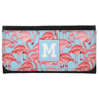 Bright Pink Flamingos On Blue | Add Your Initial Wallets
