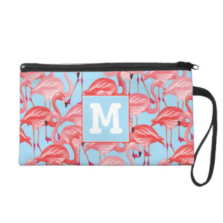 Bright Pink Flamingos On Blue | Add Your Initial Wristlet
