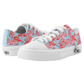 Bright Pink Flamingos On Blue Low Tops