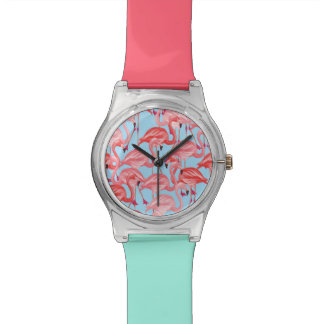Bright Pink Flamingos On Blue Wrist Watches