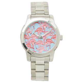 Bright Pink Flamingos On Blue Wristwatch
