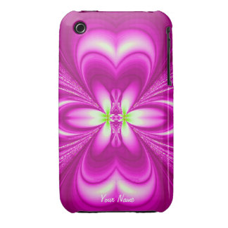 Bright Pink Floral Fractal iPhone 3 Cases