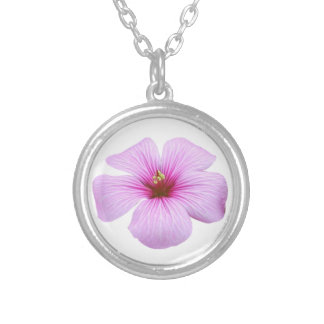 Bright Pink Flower Silver Plated Necklace