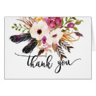 Bright pink  flower water colour THank you note Card