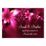 Bright pink flower wedding invitation