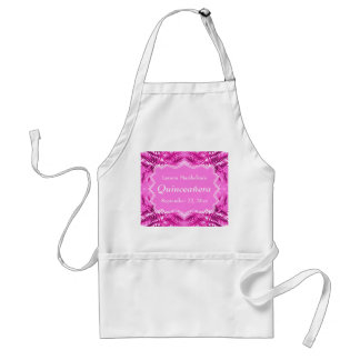 Bright Pink Foliage Pattern Quinceanera Aprons