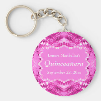 Bright Pink Foliage Pattern Quinceanera Key Chains