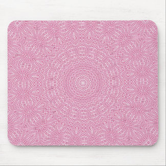 Bright pink fractal pattern design mouse pad