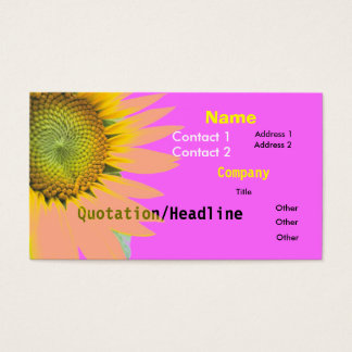 Bright Pink Funky Sunflower Business Card