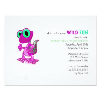 Bright Pink Gecko Birthday Invitation