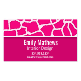 Bright Pink Giraffe Animal Print Double-Sided Standard Business Cards (Pack Of 100)