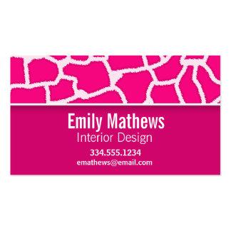 Bright Pink Giraffe Animal Print Business Card