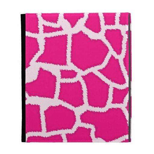 Bright Pink Giraffe Animal Print iPad Folio Cases