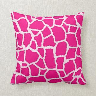 Bright Pink Giraffe Animal Print Cushion