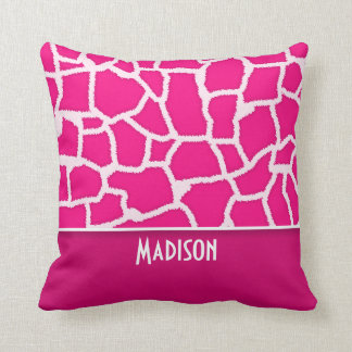 Bright Pink Giraffe Animal Print Pillow