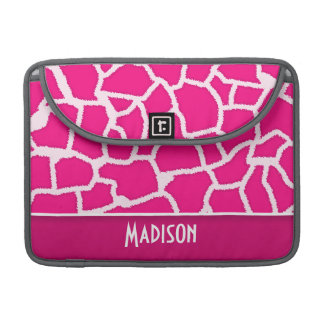 Bright Pink Giraffe Animal Print MacBook Pro Sleeves