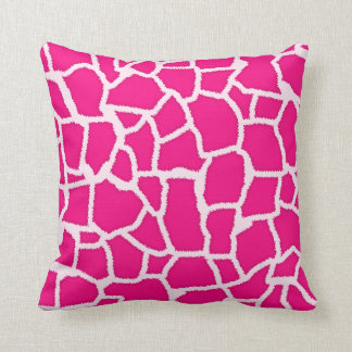 Bright Pink Giraffe Animal Print Throw Pillow