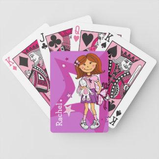 Bright pink girl named playing card set