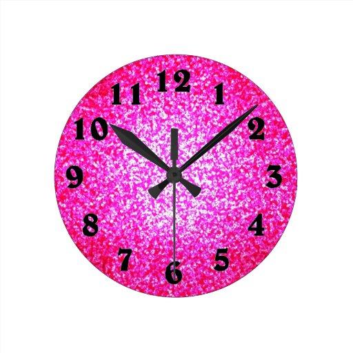 Bright pink glitter fashion clock