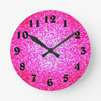 Bright pink glitter fashion round clock