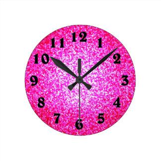 Bright pink glitter fashion wallclock