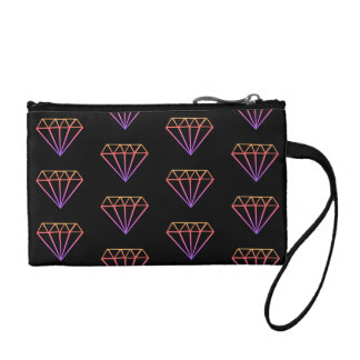 Bright Pink Gradient Diamond Pattern Coin Purse