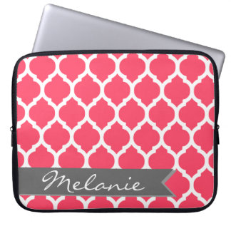 Bright Pink Gray Moroccan Lattice & Banner Laptop Computer Sleeve