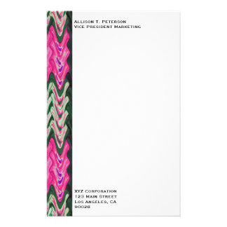 Bright Pink Green Abstract Pattern Personalized Stationery