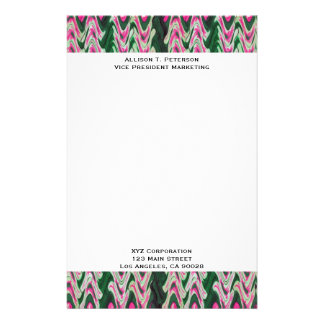Bright Pink Green Abstract Pattern Stationery Design