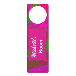 Bright Pink Green Color Swish Abstract Door Hanger