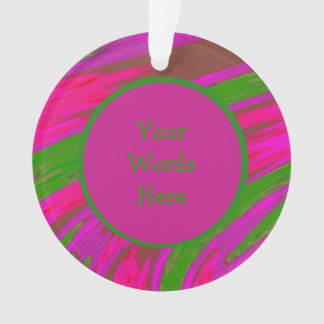 Bright Pink Green Color Swish Abstract Ornament