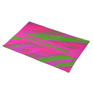 Bright Pink Green Color Swish Abstract Placemats