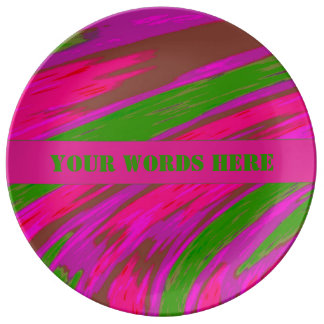 Bright Pink Green Color Swish Abstract Plate