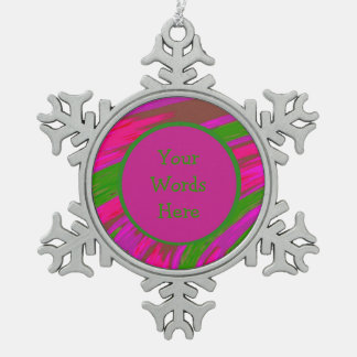Bright Pink Green Color Swish Abstract Snowflake Pewter Christmas Ornament