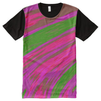 Bright Pink Green  Color Swish All-Over Print T-Shirt