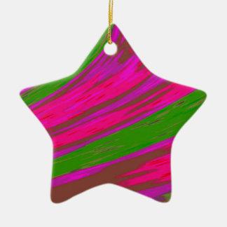 Bright Pink Green Color Swish Ceramic Star Decoration