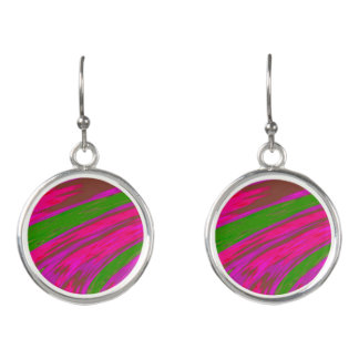 Bright Pink Green Color Swish Earrings