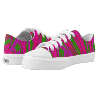 Bright Pink Green Color Swish Low Tops