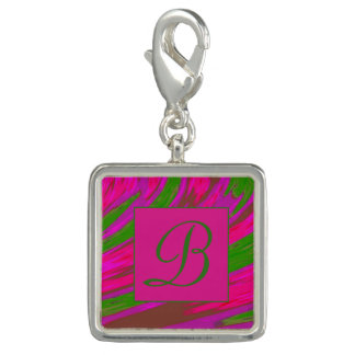 Bright Pink Green  Color Swish Monogram