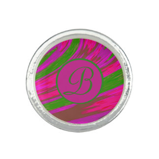 Bright Pink Green  Color Swish Monogram Ring